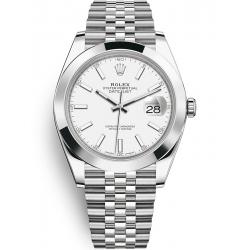 Rolex Datejust 41 Steel White Dial Smooth Bezel Jubilee Watch 126300