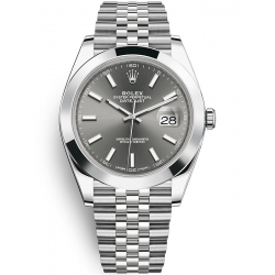 Rolex Datejust 41 Steel Dark Rhodium Dial Smooth Bezel Jubilee Watch 126300
