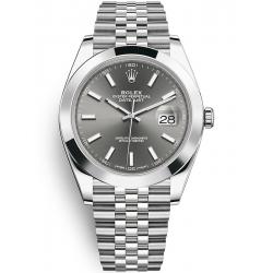 Rolex Datejust 41 Steel Dark Rhodium Dial Smooth Bezel Jubilee Watch 126300