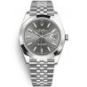 126300-0008 Rolex Datejust Steel Dark Rhodium Dial Smooth Bezel Jubilee Watch 41mm