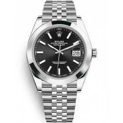 Rolex Datejust 41 Steel Black Dial Smooth Bezel Jubilee Watch 126300