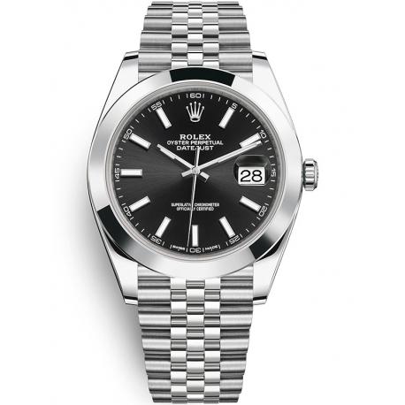 126300-0012 Rolex Datejust Steel Black Dial Smooth Bezel Jubilee Watch 41mm