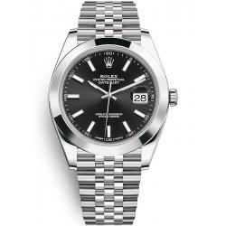 Rolex Datejust 41 Steel Black Dial Smooth Bezel Jubilee Watch 126300
