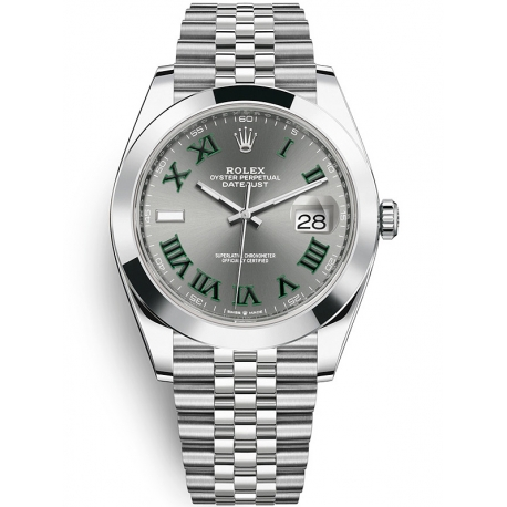 126300-0014 Rolex Datejust Steel Slate Dial Smooth Bezel Jubilee Watch 41mm