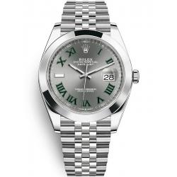 Rolex Datejust 41 Steel Slate Dial Smooth Bezel Jubilee Watch 126300