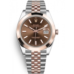 Rolex Datejust 41 Steel Everose Gold Chocolate Dial Jubilee Watch 126301