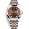 126301-0002 Rolex Datejust Steel 18K Everose Gold Chocolate Dial Smooth Bezel Jubilee Watch 41mm
