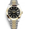 126303-0014 Rolex Datejust Steel 18K Yellow Gold Black Dial Smooth Bezel Jubilee Watch 41mm