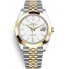 126303-0016 Rolex Datejust Steel 18K Yellow Gold White Dial Smooth Bezel Jubilee Watch 41mm