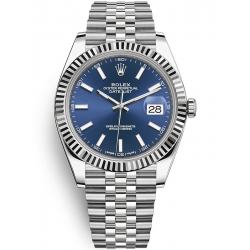 Rolex Datejust 41 Steel White Gold Blue Dial Fluted Bezel Jubilee Watch 126334