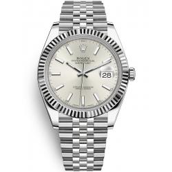Rolex Datejust 41 Steel White Gold Silver Dial Fluted Bezel Jubilee Watch 126334