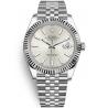 126334-0004 Rolex Datejust Steel White Gold Silver Dial Fluted Bezel Jubilee Watch 41mm