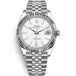 126334-0010 Rolex Datejust Steel White Gold White Dial Fluted Bezel Jubilee Watch 41mm