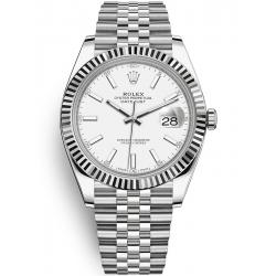 Rolex Datejust 41 Steel White Gold White Dial Fluted Bezel Jubilee Watch 126334