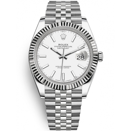 126334-0010 Rolex Datejust Steel White Gold White Dial Fluted Bezel Jubilee Watch 41mm