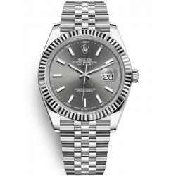 126334-0014 Rolex Datejust Steel White Gold Dark Rhodium Dial Fluted Bezel Jubilee Watch 41mm