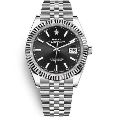 126334-0018 Rolex Datejust Steel White Gold Black Dial Fluted Bezel Jubilee Watch 41mm