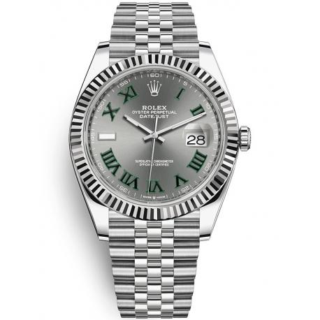126334-0022 Rolex Datejust Steel White Gold Slate Dial Fluted Bezel Jubilee Watch 41mm