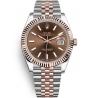 126331-0002 Rolex Datejust Steel 18K Everose Gold Chocolate Dial Fluted Bezel Jubilee Watch 41mm