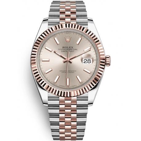 126331-0010 Rolex Datejust Steel 18K Everose Gold Sundust Dial Fluted Bezel Jubilee Watch 41mm
