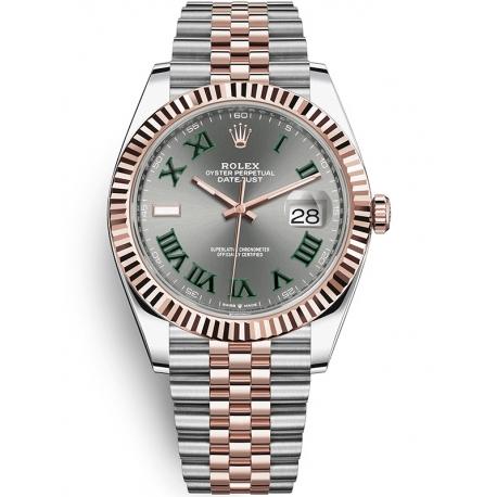 126331-0016 Rolex Datejust Steel 18K Everose Gold Slate Dial Fluted Bezel Jubilee Watch 41mm