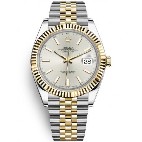 126333-0002 Rolex Datejust Steel 18K Yellow Gold Silver Dial Fluted Bezel Jubilee Watch 41mm