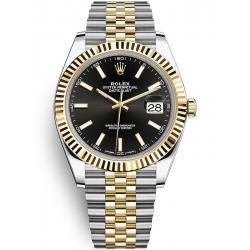 126333-0014 Rolex Datejust Steel 18K Yellow Gold Black Dial Fluted Bezel Jubilee Watch 41mm