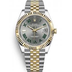 126333-0020 Rolex Datejust Steel 18K Yellow Gold Slate Dial Fluted Bezel Jubilee Watch 41mm