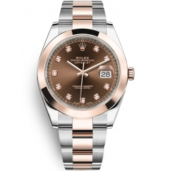 Rolex Datejust 41 Steel Everose Gold Diamond Chocolate Dial Oyster Watch 126301