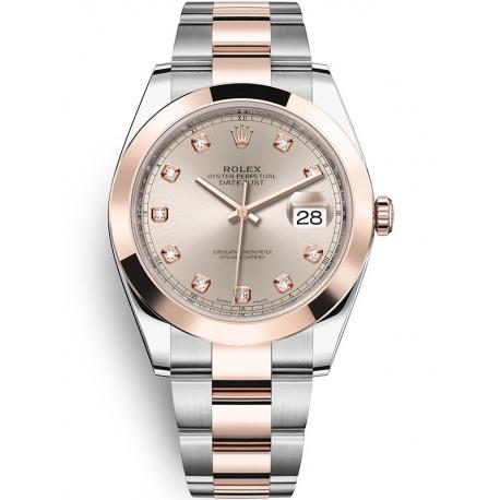 126301-0007 Rolex Datejust Steel 18K Everose Gold Diamond Sundust Dial Oyster Watch 41mm