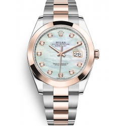 126301-0013 Rolex Datejust Steel 18K Everose Gold Diamond White MOP Dial Oyster Watch 41mm