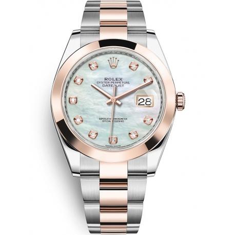126301-0013 Rolex Datejust Steel 18K Everose Gold Diamond White MOP Dial Oyster Watch 41mm