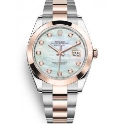 Rolex Datejust 41 Steel Everose Gold Diamond MOP Dial Oyster Watch 126301