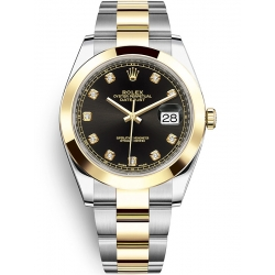 Rolex Datejust 41 Steel Yellow Gold Diamond Black Dial Oyster Watch 126303