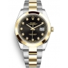 126303-0005 Rolex Datejust Steel 18K Yellow Gold Diamond Black Dial Oyster Watch 41mm
