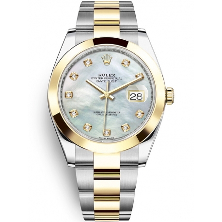 126303-0017 Rolex Datejust Steel 18K Yellow Gold Diamond White MOP Dial Oyster Watch 41mm