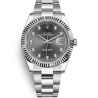 126334-0005 Rolex Datejust Steel 18K White Gold Diamond Dark Rhodium Dial Oyster Watch 41mm