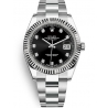 126334-0011 Rolex Datejust Steel 18K White Gold Diamond Black Dial Oyster Watch 41mm
