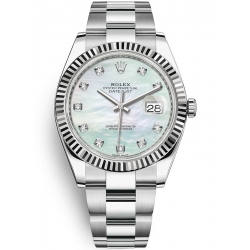 Rolex Datejust 41 Steel White Gold Diamond MOP Dial Oyster Watch 126334