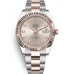 126331-0007 Rolex Datejust Steel 18K Everose Gold Diamond Sundust Dial Oyster Watch 41mm