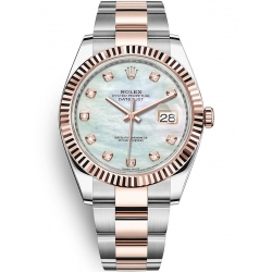 126331-0013 Rolex Datejust Steel 18K Everose Gold Diamond White MOP Dial Oyster Watch 41mm