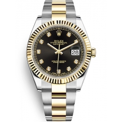 126333-0005 Rolex Datejust Steel 18K Yellow Gold Diamond Black Dial Oyster Watch 41mm