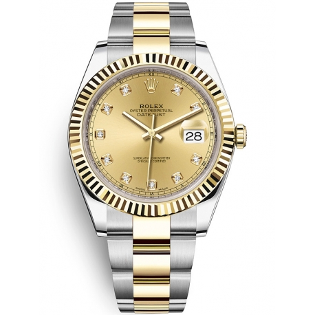 126333-0011 Rolex Datejust Steel 18K Yellow Gold Diamond Champagne Dial Oyster Watch 41mm