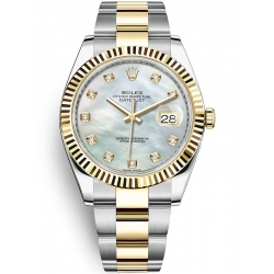 126333-0017 Rolex Datejust Steel 18K Yellow Gold Diamond MOP Dial Oyster Watch 41mm