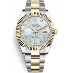 Rolex Datejust 41 Steel Yellow Gold Diamond MOP Dial Oyster Watch 126333