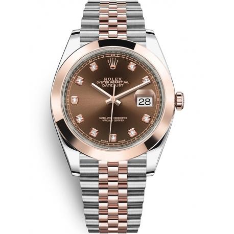 126301-0004 Rolex Datejust Steel 18K Everose Gold Diamond Chocolate Dial Jubilee Watch 41mm