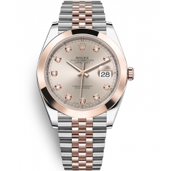 126301-0008 Rolex Datejust Steel 18K Everose Gold Diamond Sundust Dial Jubilee Watch 41mm