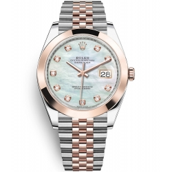 126301-0014 Rolex Datejust Steel 18K Everose Gold Diamond MOP Dial Jubilee Watch 41mm