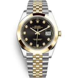 Rolex Datejust 41 Steel Yellow Gold Diamond Black Dial Jubilee Watch 126303