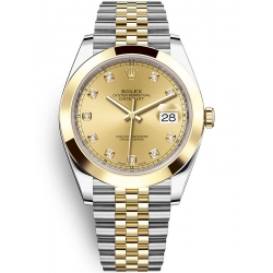 126303-0012 Rolex Datejust Steel 18K Yellow Gold Diamond Champagne Dial Jubilee Watch 41mm